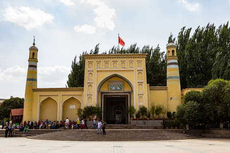 Aug 2017, Kashgar, Xinjiang, China: view of the Id Kah Mosque, the most famous attractions in Kashgar Ancient Town. Built in 1442, it is the largest mosque in China Editorial