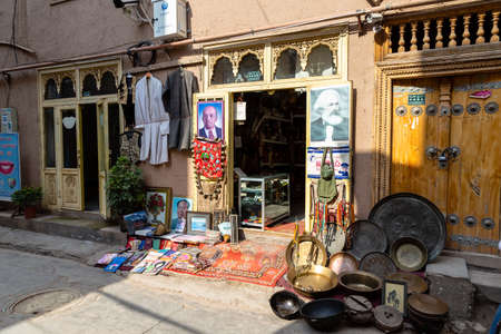Aug 2017, Kashgar, Xinjinag, China: small local Uighur shop in the streets of Kashgar Ancient Town. Kashgar is a popular tourist spot along the Silk Road and one of the westernmost cities of China