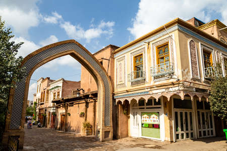 Aug 2017, Kashgar, Xinjinag, China: arabic style decorated buildings in the streets of Kashgar Ancient Town. Kashgar is a popular tourist spot along the Silk Road and one of the westernmost cities of China
