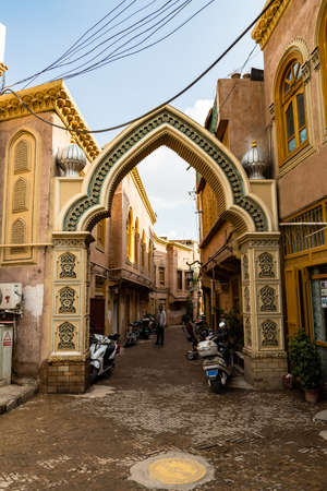 Aug 2017, Kashgar, Xinjinag, China: arabic style decorated archway in the streets of Kashgar Ancient Town. Kashgar is a popular tourist spot along the Silk Road and one of the westernmost cities of China