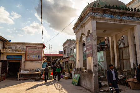 Aug 2017, Kashgar, Xingjiang, China: the famous Sunday Market of Kashgar, a popular destination along the Silk Road, is crowded every day with tourists and local Uighur people