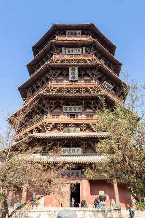 Nov 2014, Yingxian, China: Wooden Pagoda of Yingxian, near Datong, Shanxi province, China.  the oldest and tallest fully wooden pagoda in the world