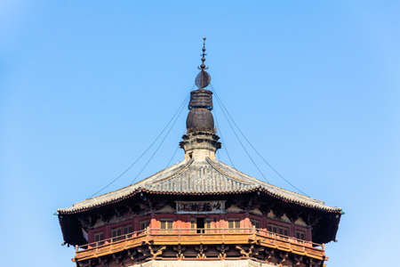 Nov 2014, Yingxian, China: Wooden Pagoda of Yingxian, near Datong, Shanxi province, China.   the oldest and tallest fully wooden pagoda in the world Editorial