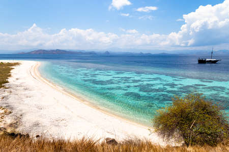 Crystal clear water in Sabolon Besar island, one of the many island spots for diving in the protected area of Komodo National Park, Lubuan Bajo, Nusa Tenggara, Flores, Indonesia