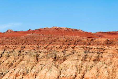 Flaming mountains, Turpan, Xinjiang, China: the top of the Chinese mountains? Journey to the west? is a deep red and similar to scorching flames
