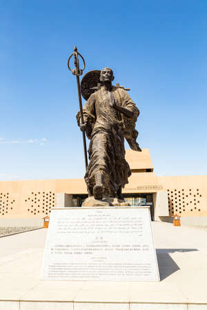Aug 2017, Turpan, China: a statue of Xuanzhang at the entrance to the Ruins of Gaochang. Gaochang and Jiaohe are the two oldest ruins in Xinjiang, also mentioned in the epic? Journey to the west?