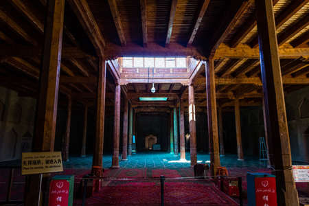 Aug 2017, Turpan, China: the interior praying chamber of Emin minaret, or Sugong tower. Built in 1777, it is the largest ancient Islamic tower in Xinjiang, China Imagens - 127627277