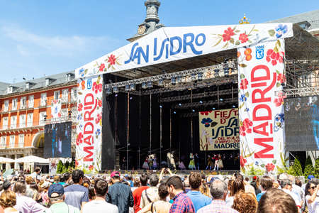 15th May 2019? Madrid, Spain: the big stage in the Plaza Mayor with traditional spanish dance show (chotis) during the San Isidro Festival of Madrid