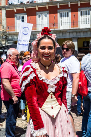 15th May 2019? Madrid, Spain: A young girl in a traditional chulapa dress during the San Isidro Festival of Madrid Editorial