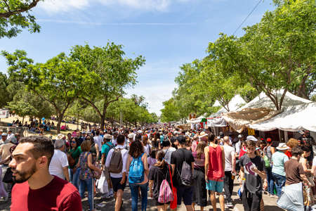 15th May 2019? Madrid, Spain: La Pradera de San Isidro crowded with people coming to celebrate the saint patron of the city during the San Isidro Festival
