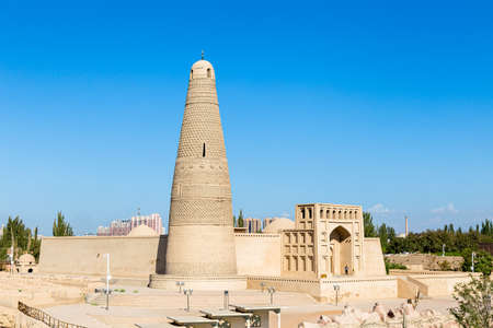 Emin minaret, or Sugong tower, in Turpan, is the largest ancient Islamic tower in Xinjiang, China. Built in 1777, its gray bricks form 15 different patterns such as waves, flowers or rhombuses
