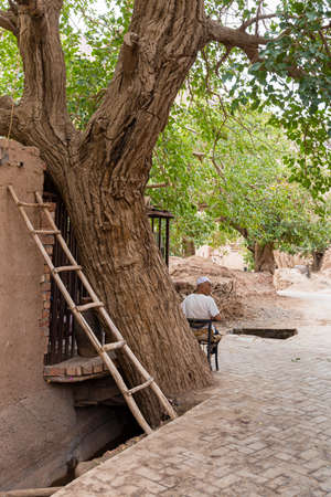 Aug 2017, Tuyoq village (Tuyuk), China: an old man sitting under a tree in a traditional valley set in a lush valley cutting through the flaming mountains near Turpan, Xinjiang, China