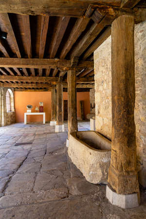 May 2019, Pedraza, Castilla Y Leon, Spain: small courtyard behind Plaza Mayor. Pedraza is one of the best preserved medieval villages of Spain, not far from Segovia Editorial