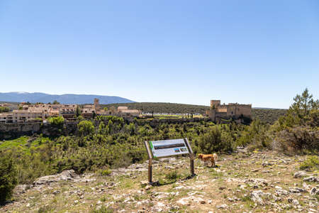 May 2019, Pedraza, Castilla Y Leon, Spain: from Mirador the Tungueras tourists can enjoy the whole view of Pedraza village. Pedraza is one of the best preserved medieval villages of Spain