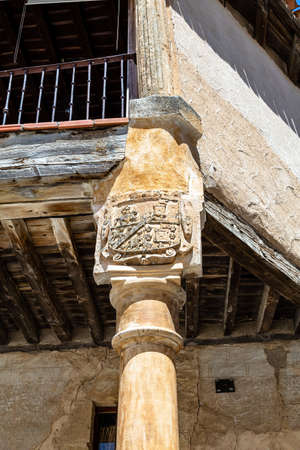 Pedraza, Castilla Y Leon, Spain: Heraldic crest detail in Plaza Mayor. Pedraza is one of the best preserved medieval villages of Spain, not far from Segovia 写真素材