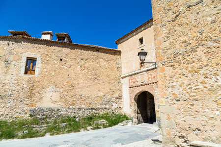 May 2019, Pedraza, Castilla Y Leon, Spain: The entry gate of the small town. Pedraza is one of the best preserved medieval villages of Spain, not far from Segovia Editorial