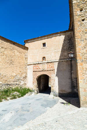 may 2019, Pedraza, Castilla Y Leon, Spain: The entry gate of the small town. Pedraza is one of the best preserved medieval villages of Spain, not far from Segovia