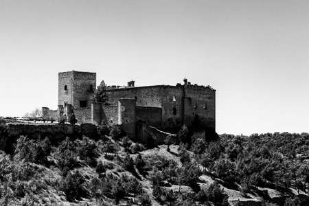 May 2019, Pedraza, Castilla Y Leon, Spain: view of Pedraza Castle from Mirador the Tungueras. Pedraza is one of the best preserved medieval villages of Spain