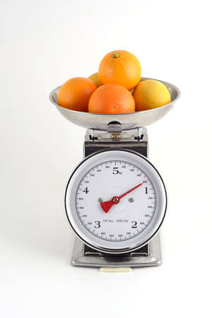 weighs: oranges and lemons weighed on scales