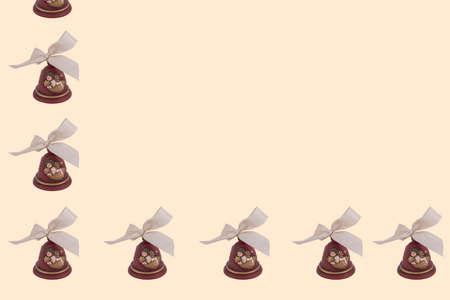 arranged: bells arranged in row