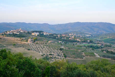hill view of the village of Radda in Chianti in Tuscany Italy