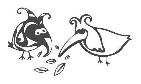 Crazy abstract birds illustration vector