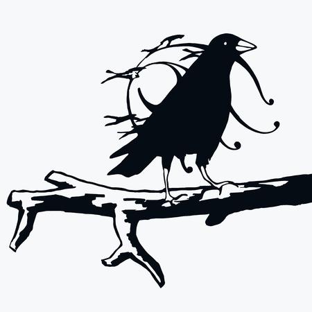 Crow abstract illustration flat black silhouette vector Illustration