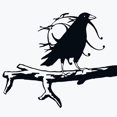 Crow abstract illustration flat black silhouette vector Illustration