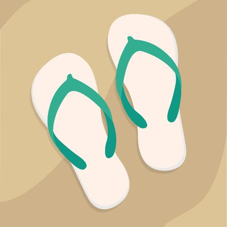 Flip flops on beach vector Illustration