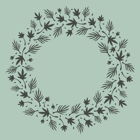 Natural flat wreath frame background