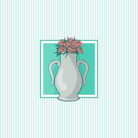 Flowerpot sketch vector illustration