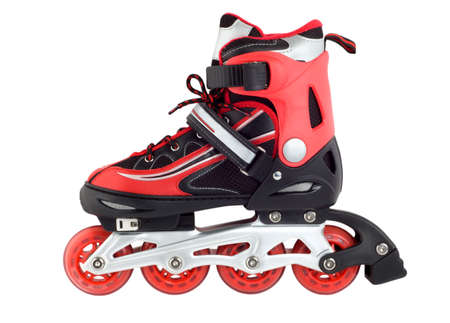 inline skating: Red rollerscates isolated on a white background