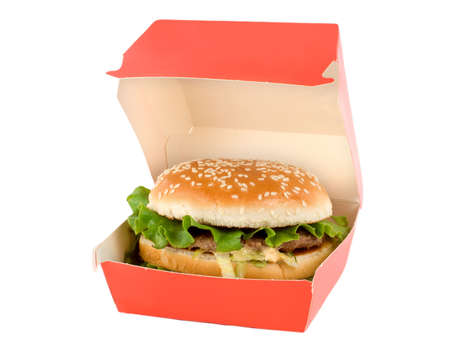 Hamburger in the red box isolated on white background.