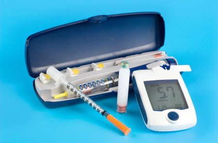 Glucose meter, Insulin pen injection photo