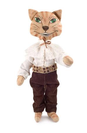 trabajo manual: Suave juguete gato de cheshire alisado aislado sobre fondo blanco