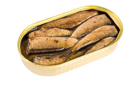 sardine can: Sprat fish canned isolated