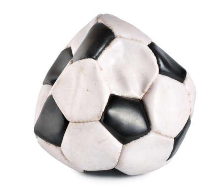 pelota de futbol: Bal�n de f�tbol desinflados Foto de archivo