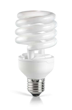 resourceful: Energy saving  fluorescent lightbulb Stock Photo