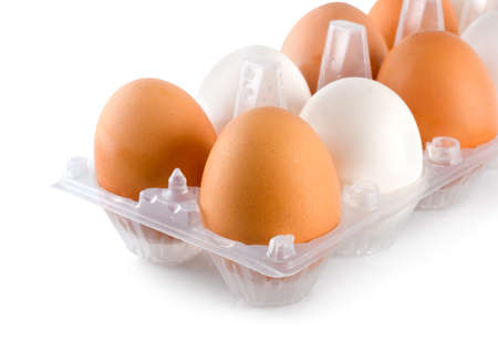Tray eggs isolated photo