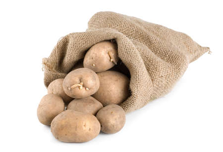 Potatoes in a hessian sack photo