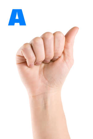 american sign language: Letter A Stock Photo