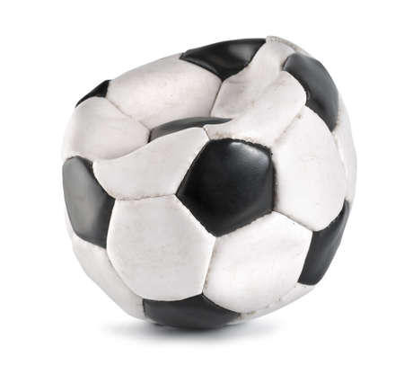 pelota de futbol: Bal�n de f�tbol desinflados aislado Foto de archivo