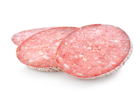Salami sausage isolated on a white background Stock Photo - 10104360
