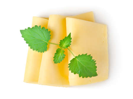 Cheese and mint isolated Stock Photo - 10417719