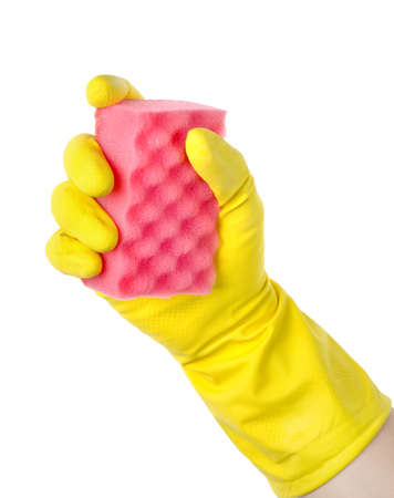 latex glove: Yellow cleaning glove