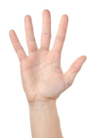 Menselijke hand geïsoleerd Stockfoto