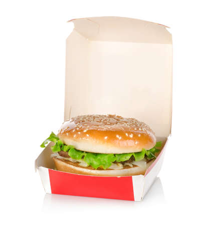 fast meal: Hamburger in package isolated
