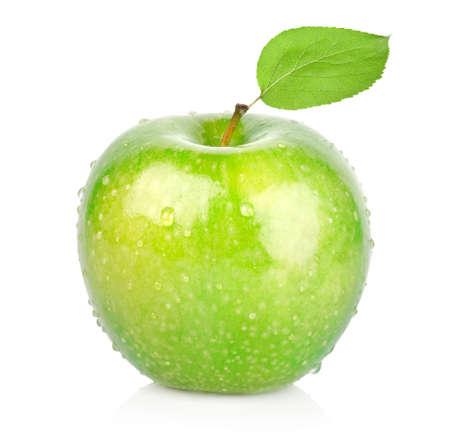 manzana verde: Manzana verde con una hoja de Foto de archivo
