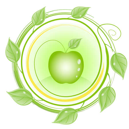 Apple-tree branch. Ecology Vector