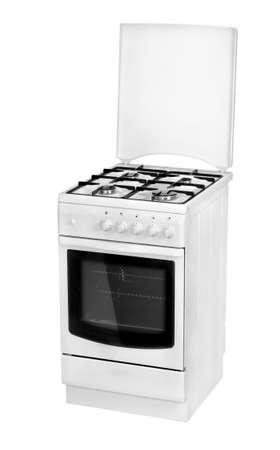gas cooker: Cocina de gas blanco aislado